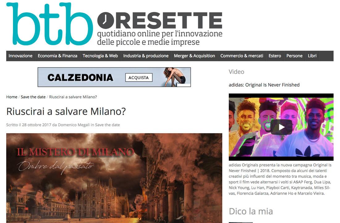 btb resette parla de il mistero di milano